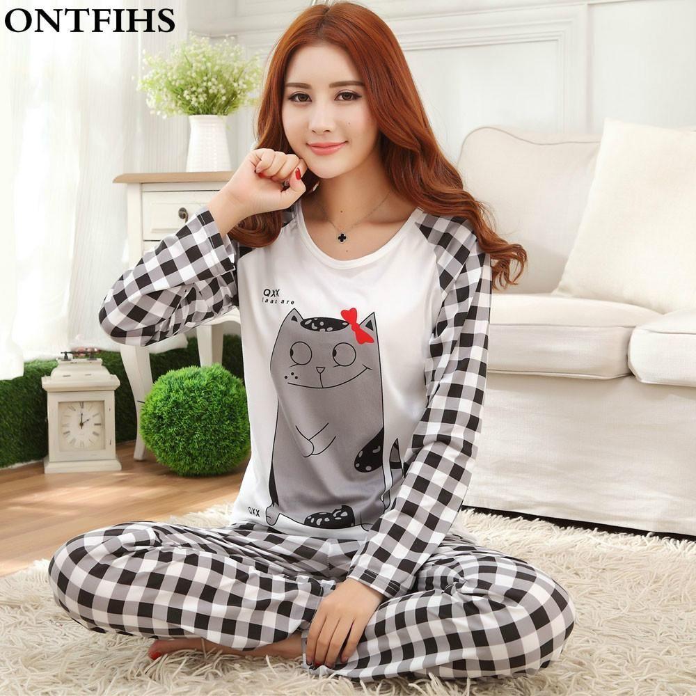 5500cccc0d Womens Thin Pajama Sets Long Sleeve Sleepwear Polyester Pyjama femme Cartoon  Nightwear Pajamas Pijama Tops Pants M L XL P5