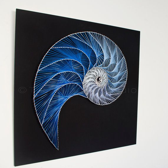 This string art piece is inspired by the Fibonacci spiral. It depicts the symmetries and balance in nature, through the shape of a nautilus.