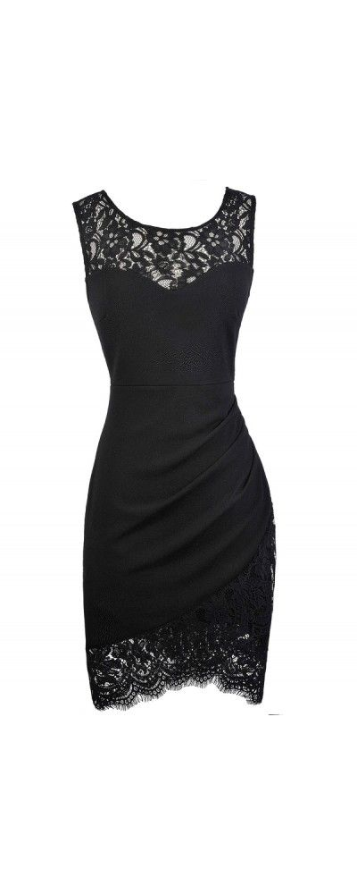 Lace Trim Pencil Dress with Crossover Hem in Black www.lilyboutique ... 7f48b409cb9c