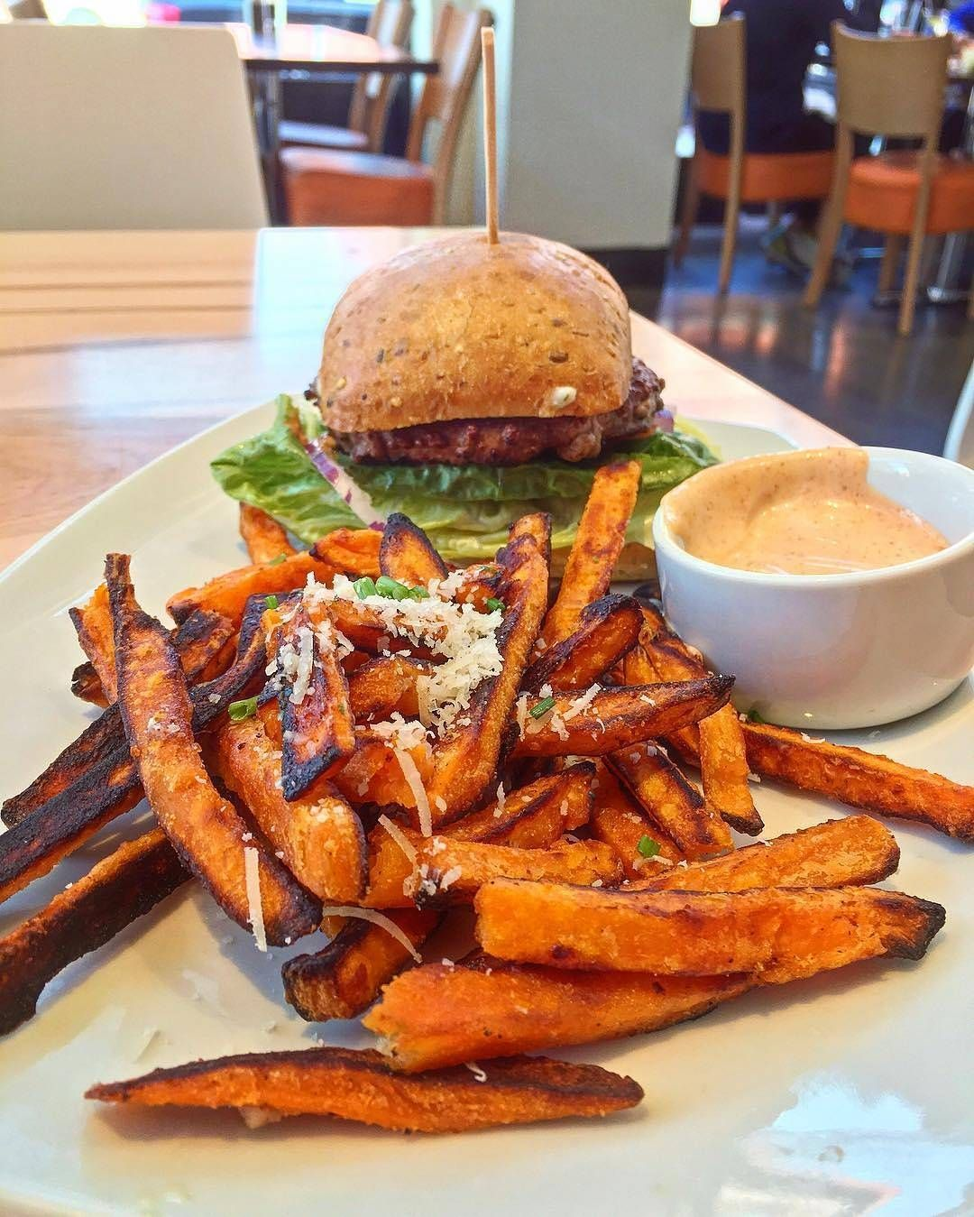 A Burger With Sweet Potato Fries We Re Always Down For That