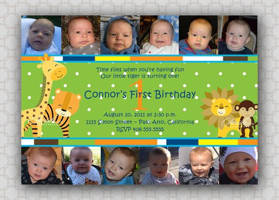 Collage First Birthday Invitation Safari Jungle photo birthday – Safari First Birthday Invitations