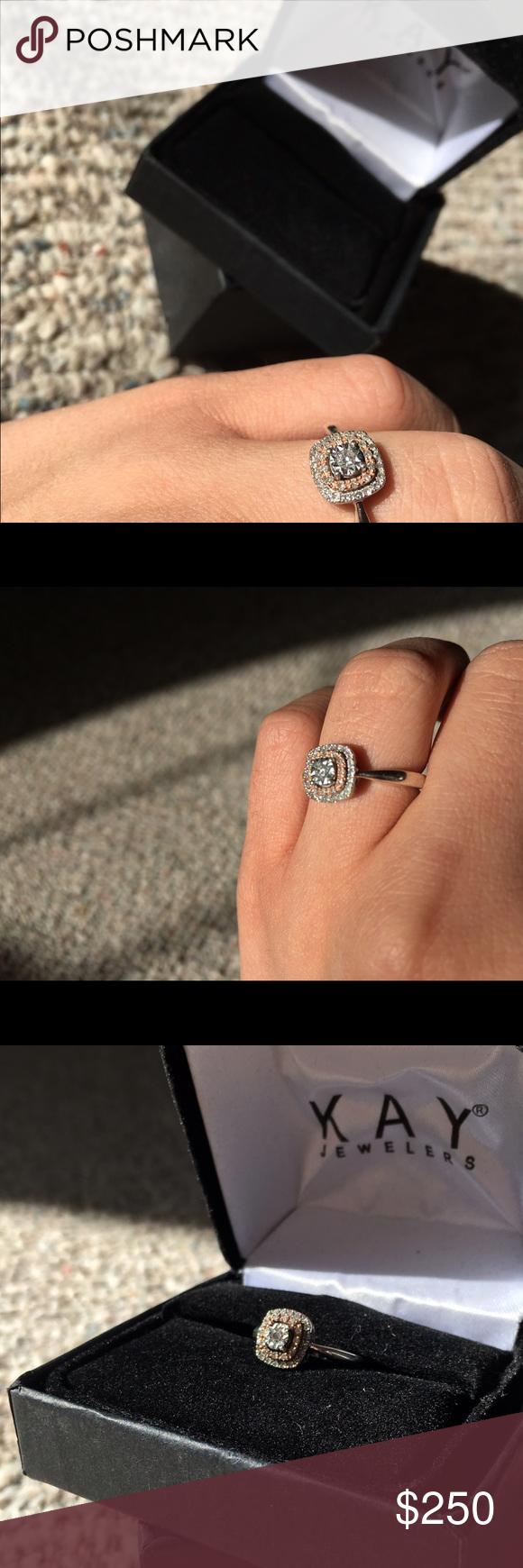 Kay Jewelers Ssil Fashion Diamond Ring Silver Rose Gold 10k And 1 5 K Diamond Fashion Halo Kay Jewelers Je Diamond Fashion Rings Kay Jewelers Diamond Fashion