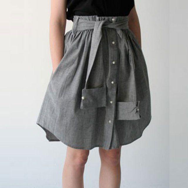 8 diy pour transformer une chemise d 39 homme chemise jupes et hommes. Black Bedroom Furniture Sets. Home Design Ideas