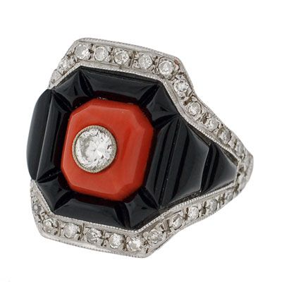 A Brandt and Son - Vintage 18kt Coral   Onyx Diamond Ring art deco ... a6457791ea