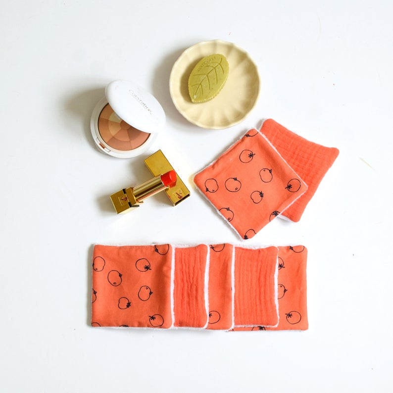 7 reusable make up pads, coral pink, tomato pattern and