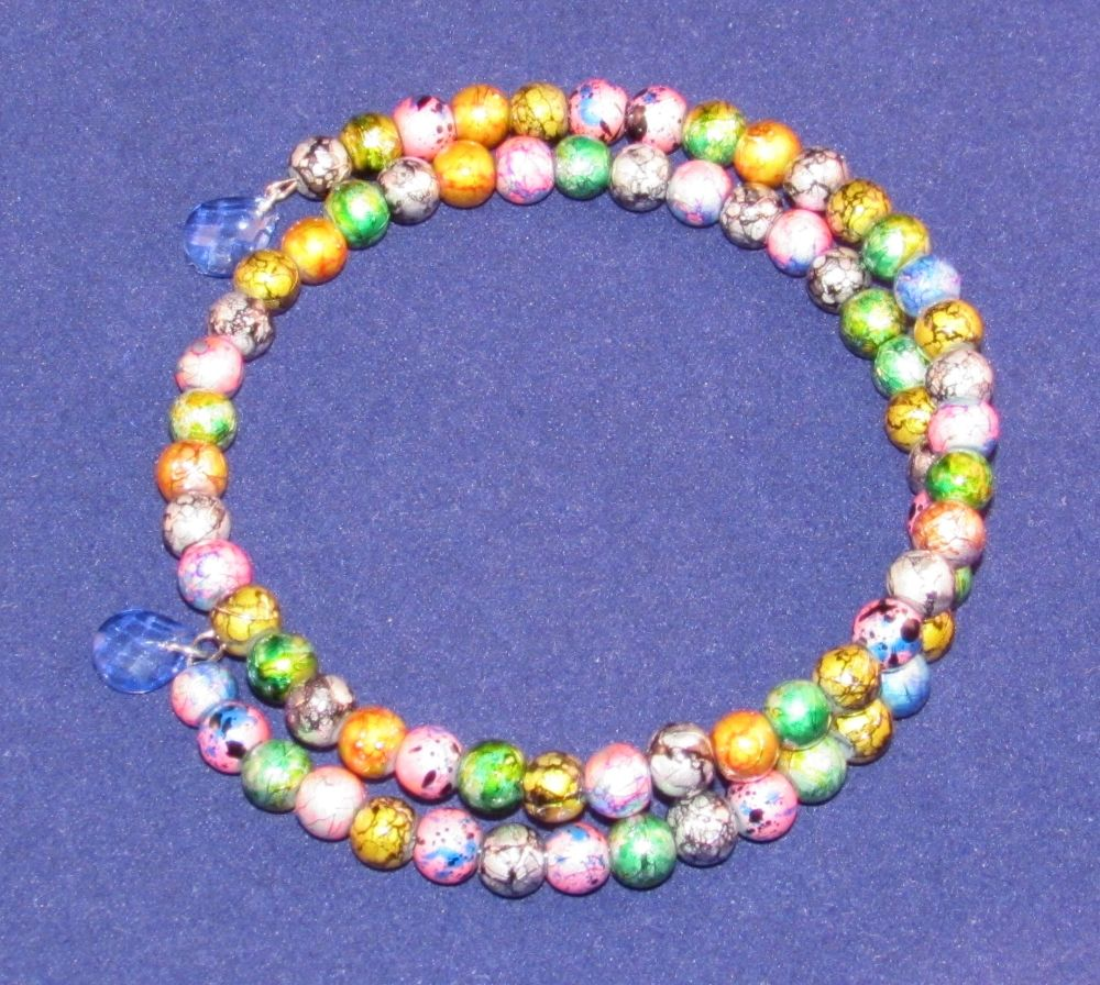 Multicoloured 'Paintball' Glass Bead and Teardrop Wrap Around Memory Wire Bangle Bracelet