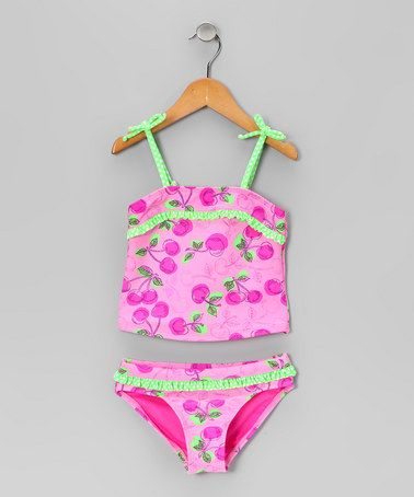 Take a look at this Pink Cherry Boom Tankini  by Angel Beach on #zulily today!