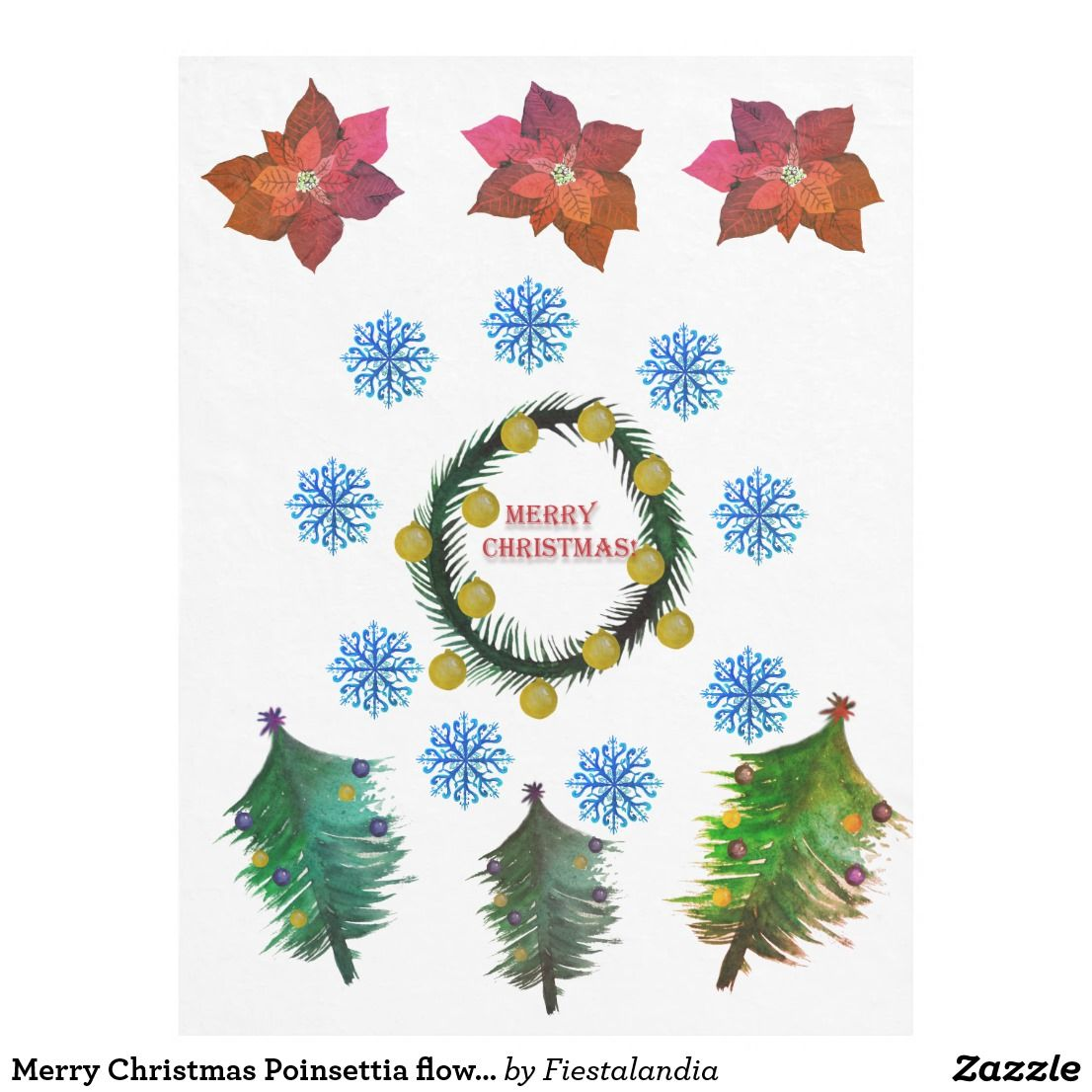 Merry Christmas Poinsettia flowers Fleece Blanket Zazzle