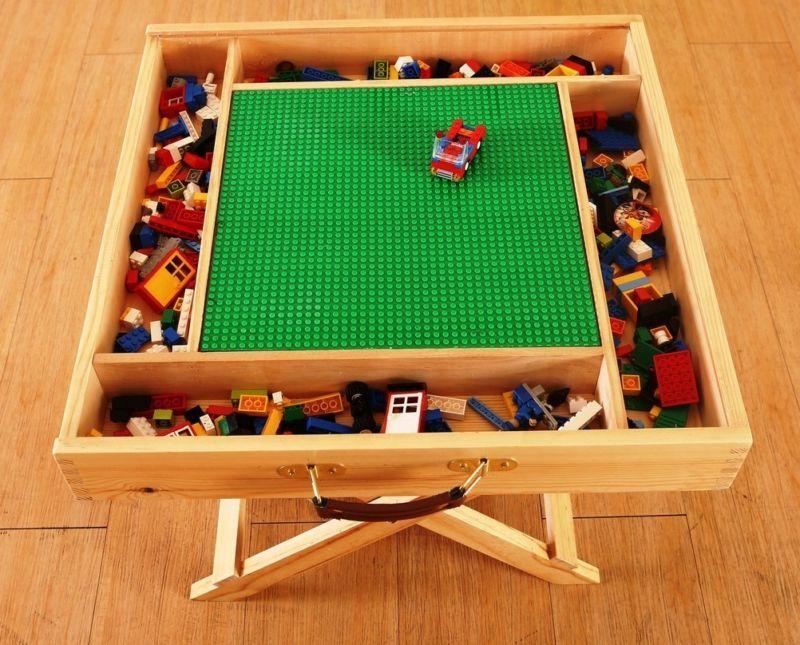 lego storage play table folding custom made wooden. Black Bedroom Furniture Sets. Home Design Ideas