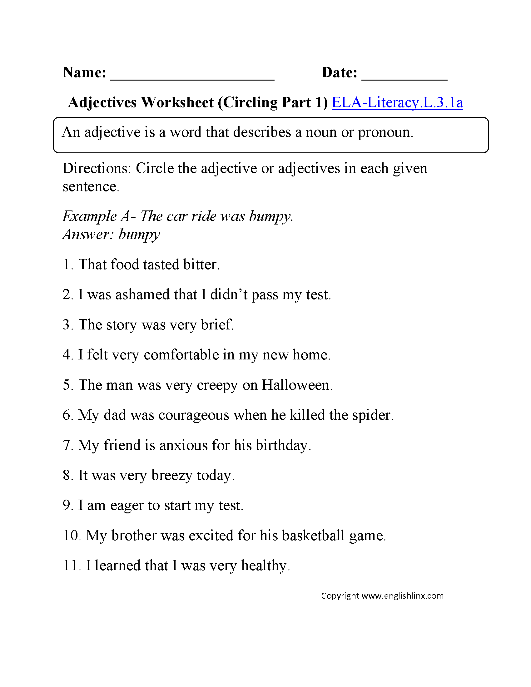 Adjectives Worksheet 1 Ela Literacy L 3 1a Language