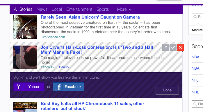 Yahoo.com - their home page more or less autosubscribes you to everything but then you can opt out of any type of story you do not want to see by clicking in the right corner of the posts.