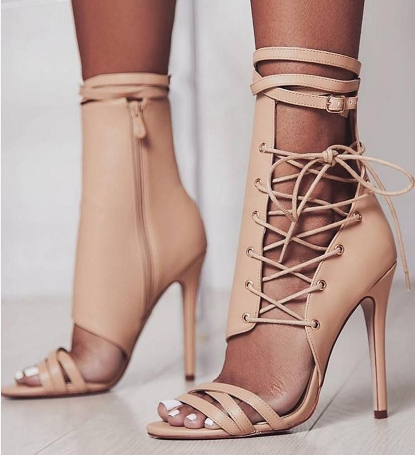 37a221cf9534  29.99 ~ Roman Buckle strap Shoes Women Sandals sexy Gladiator Lace up peep  toe sandals high heels Woman Ankle boots