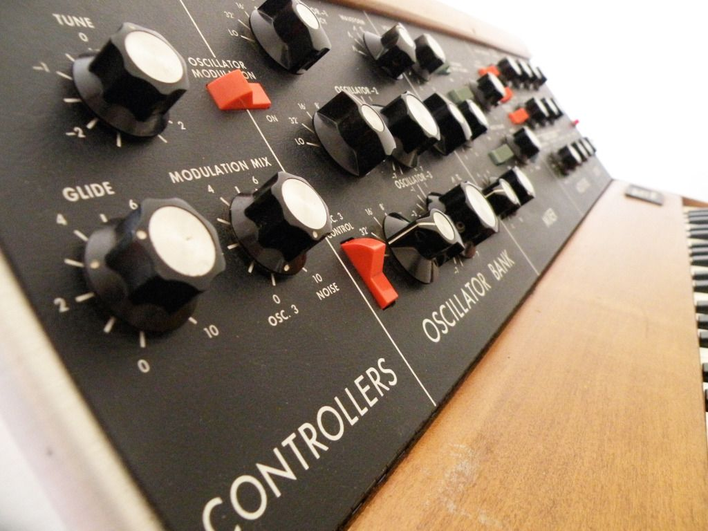 Minimoog with its lovely pots and switches