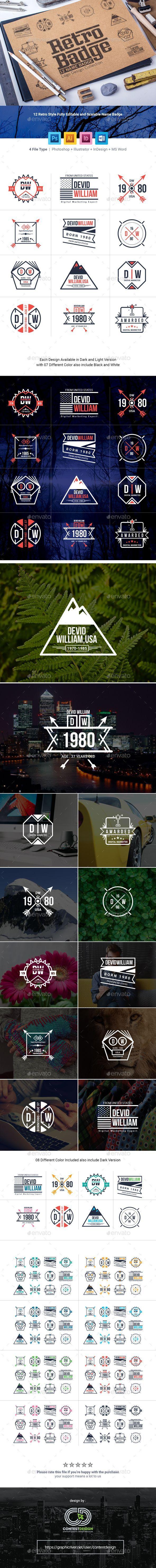 Retro Badge | Name Badge & Logo Collection — Photoshop PSD ...