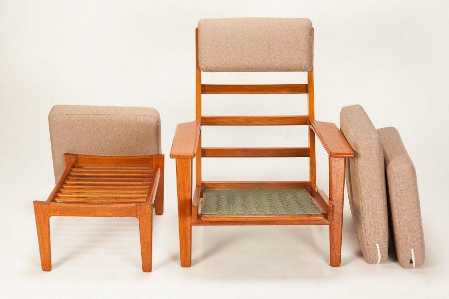 Hans Wegner Teak Easy Chair and Ottoman