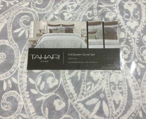 tahari gray , white, silver medallion 3pc queen duvet set