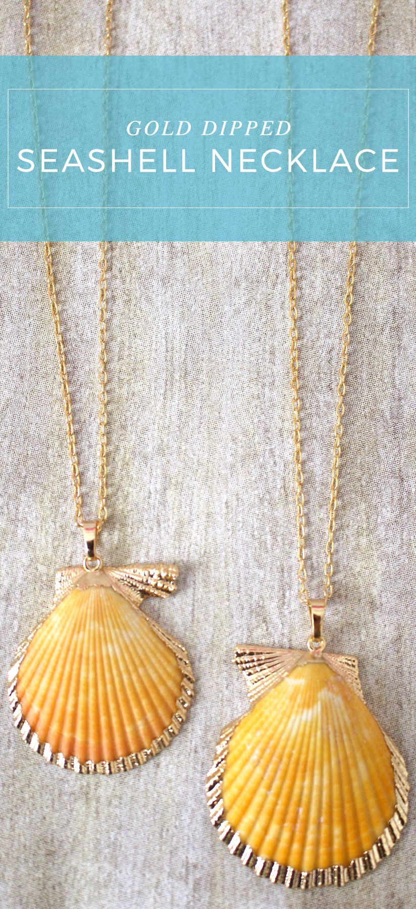 Gold Dipped Seashell Necklace | Boutique Jewelry | Dainty Jewelry | Lilly Pulitzer Style | elleandk.com