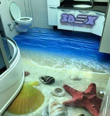 3d Bathroom Floor And 3d Self Leveling Flooring, 3d Epoxy Floors What Is 3d Bathroom  Floor, And How To Make 3d Self Leveling Floor In The Bathroom Step By ...