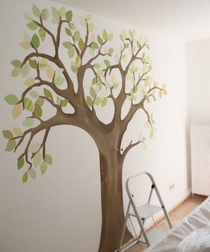 Selbstgemalter baum baby in 2018 pinterest for Deko wand kinderzimmer
