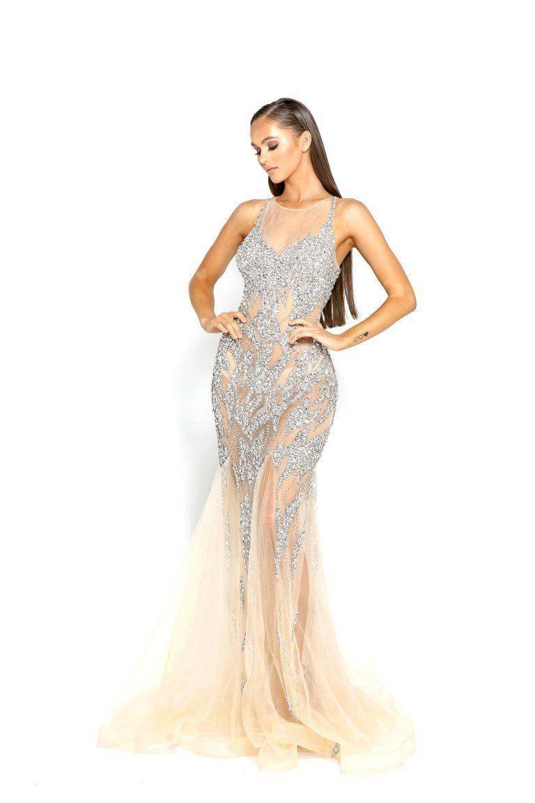 5ac3813e5029 Portia & Scarlett PS1960 Silver/Nude Swarovski Crystal Beaded Formal Gown