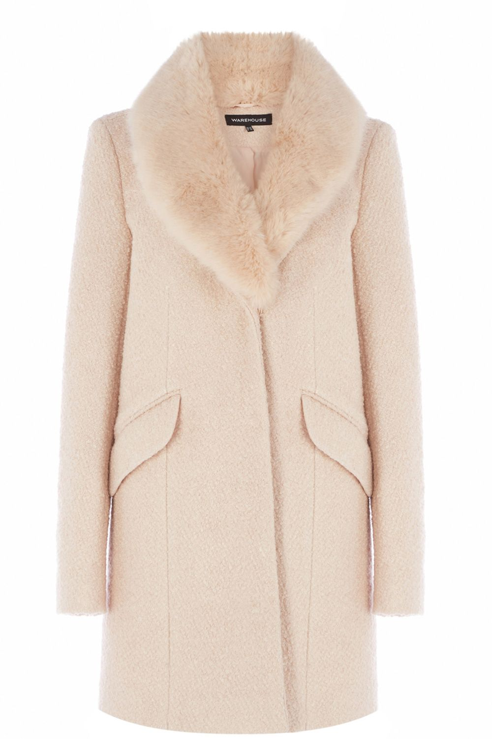 Coats & Jackets | Pink Tweed Faux Fur Collar Coat | Warehouse ...