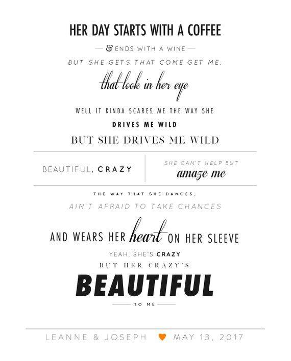 Luke Combs Beautiful Crazy Framed Lyrics Burnt Orange Wedding
