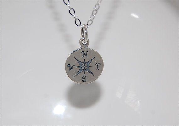 Compass Necklace-  Graduation necklaces, silver compass necklace, journey necklace.