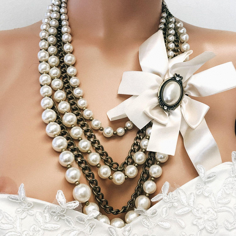 Bridal jewelry multi strand vintage inspired pearl