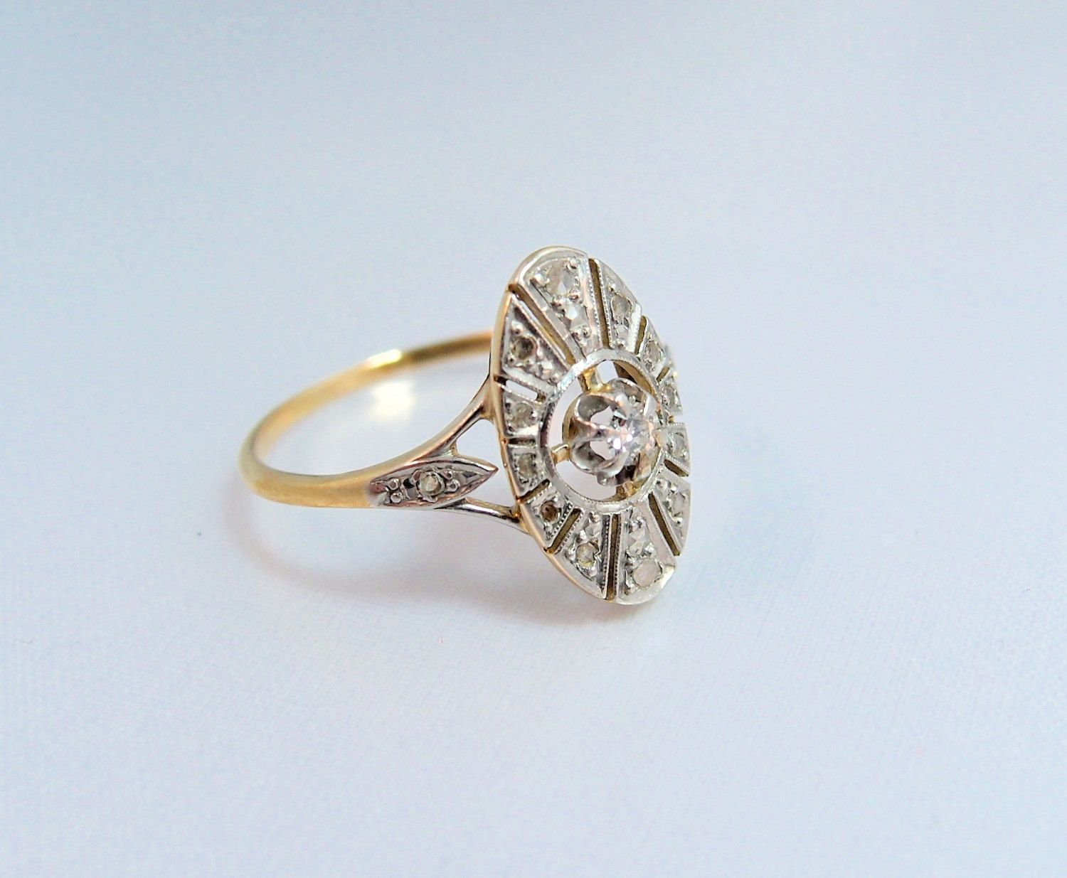 Art Deco 18K solid gold ring Stamped French gold diamond filigree