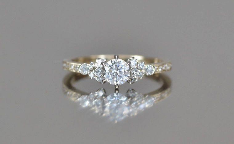 Beige gold platinum diamond ring supreme platinumring