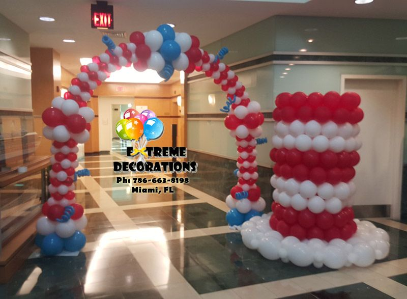 Dr Seuss Week Balloon Arch And Cat In The Hat Balloon Sculpture