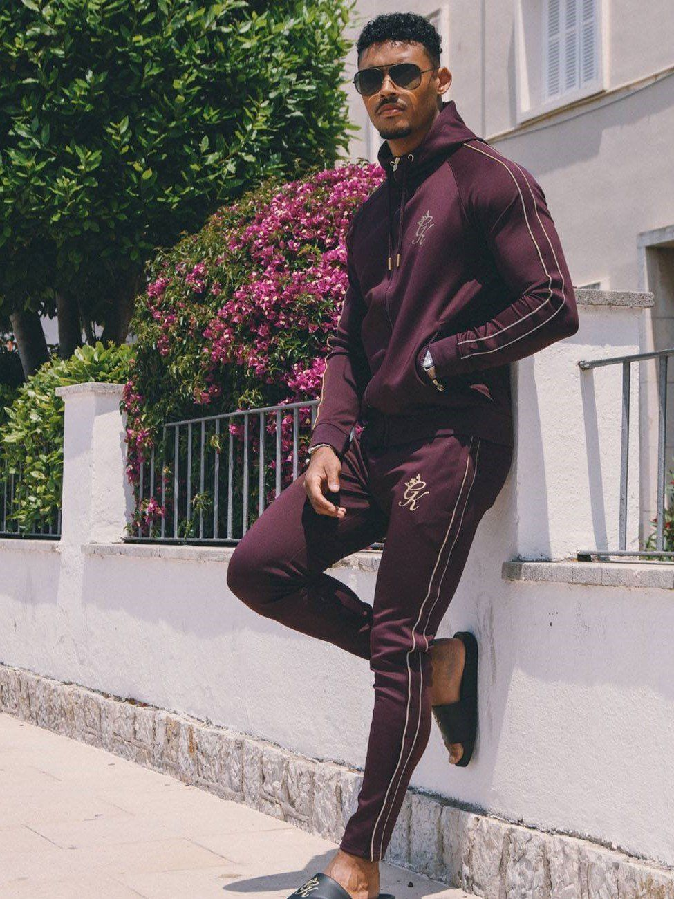 GK Reflective Lester Poly Tracksuit Top Wine Gold