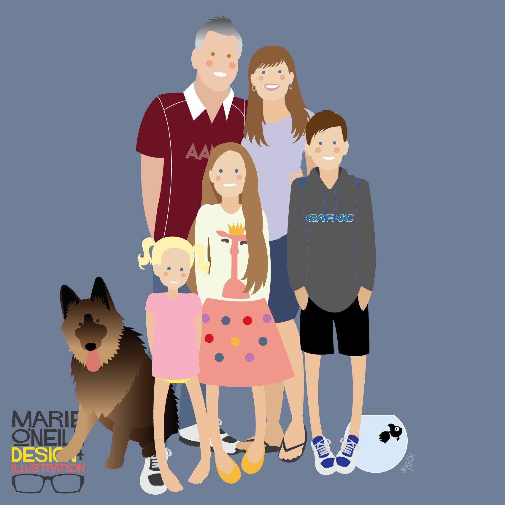 Illustrated Family Portrait By Marie O Neill Illustrated Family Portrait Custom Illustrated Family Portrait Family Illustration