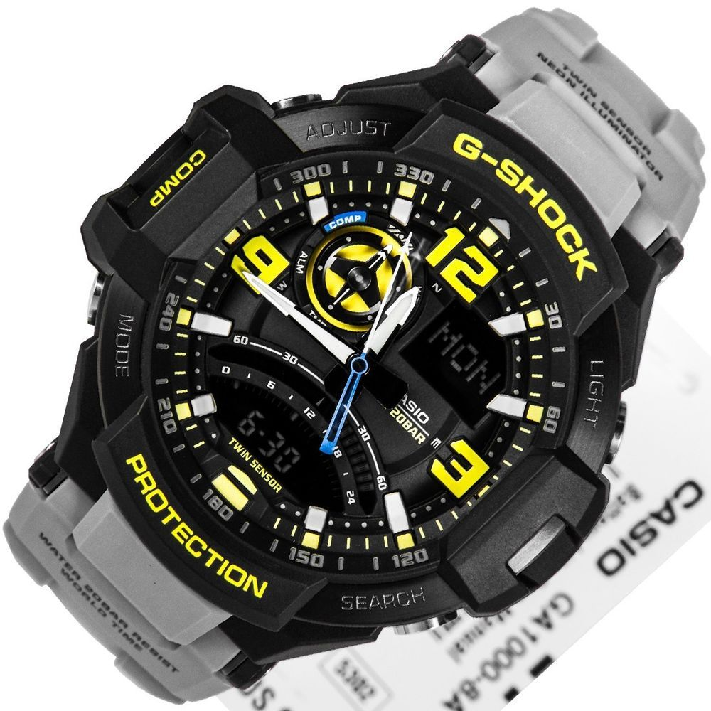 3f9a9a78088 Casio G-Shock GA1000-8A G-Aviation Men s Sports Watch GA-1000-8ACR  Black Yellow