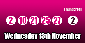 Here is the Thunderball results for Wednesday 13th November 2013: http://thunderballresults.org/thunderball-results-13th-november/