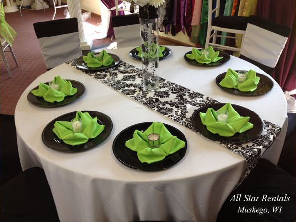 White And Black And Lime Green Wedding Table Settings Google