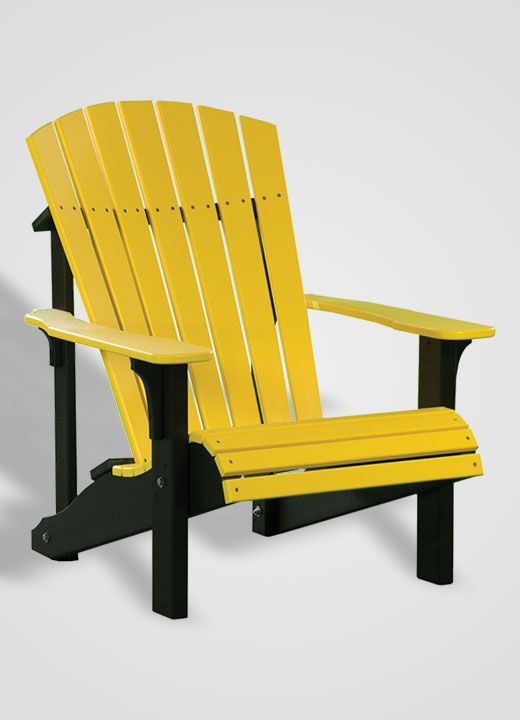 Deluxe Poly Adirondack Chair   Yellow And Black