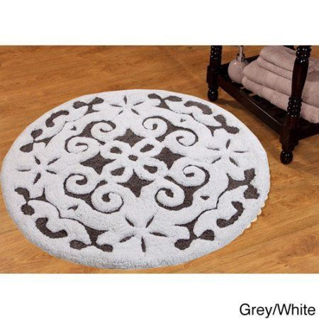 Saffron Fabs Bath Rug 36 Inch Round Damask Pattern Assorted