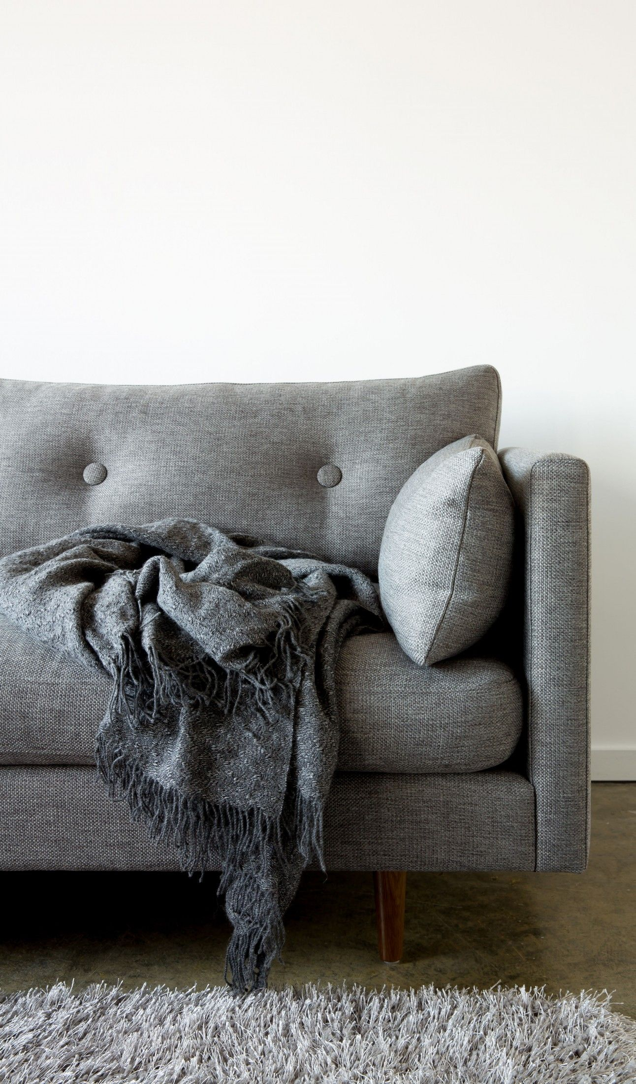 Astounding Gray Sofa Tufted Button Back Solid Wood Legs Article Theyellowbook Wood Chair Design Ideas Theyellowbookinfo