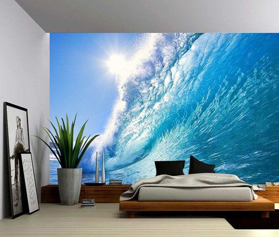 Ocean wave large wall mural self adhesive vinyl - Lame adhesive murale ...