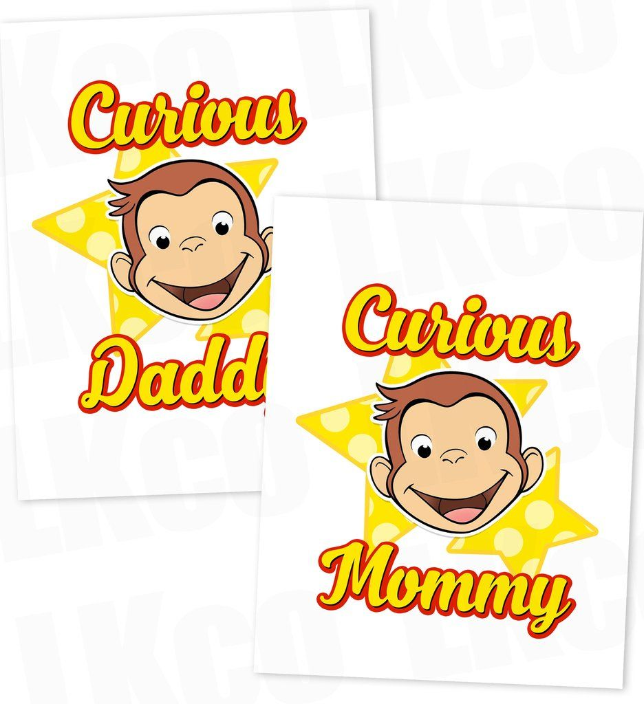 curious george iron on transfer mommy u0026 daddy set curious