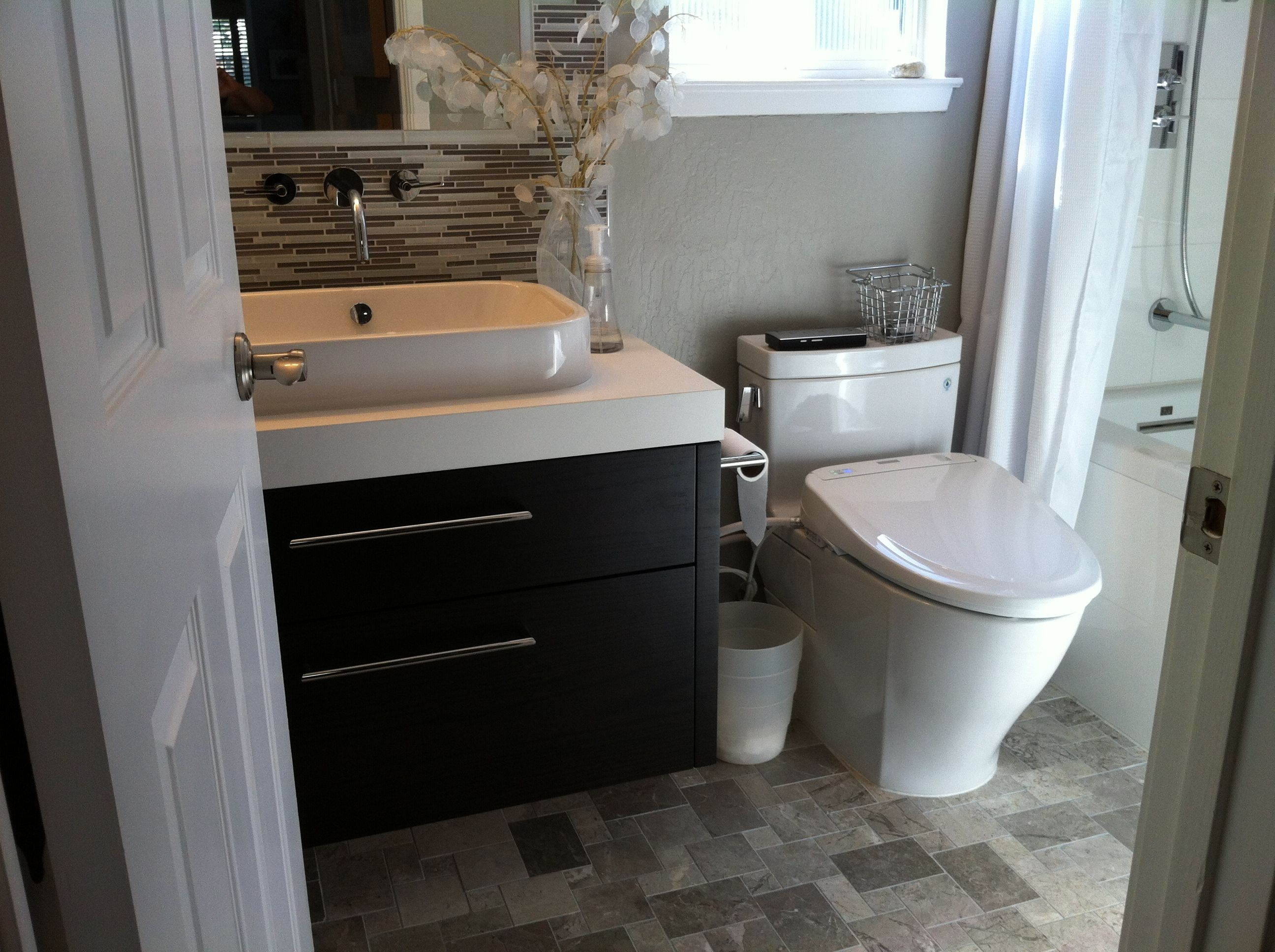 Guest bath remodel custom vanity toto Legato toilet and Toto