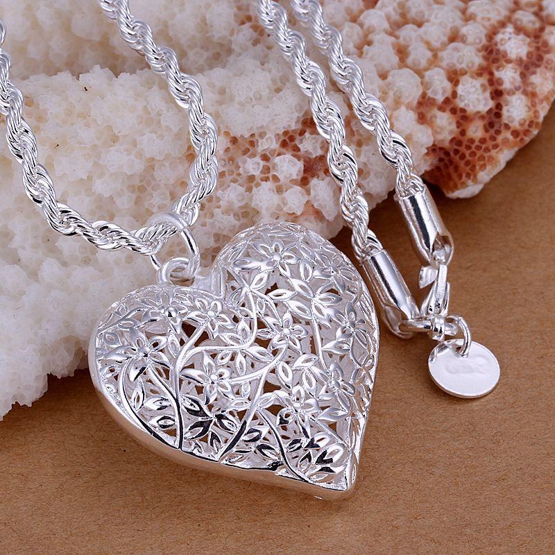 Collar corazón Love remolque circonita azul Collier 925 Sterling plata PL
