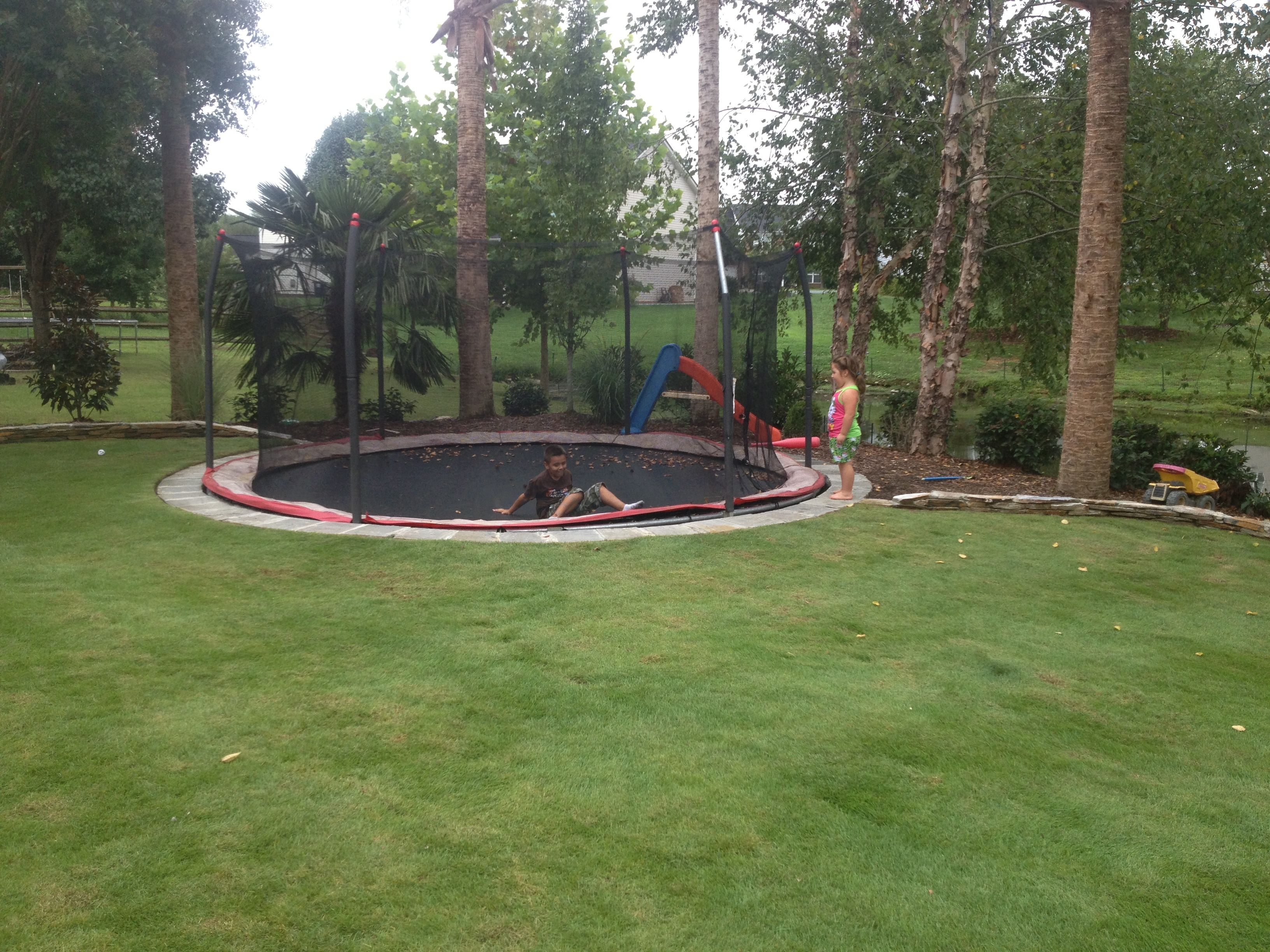 trampoline in the ground zoysia grass lawn backyard landscape