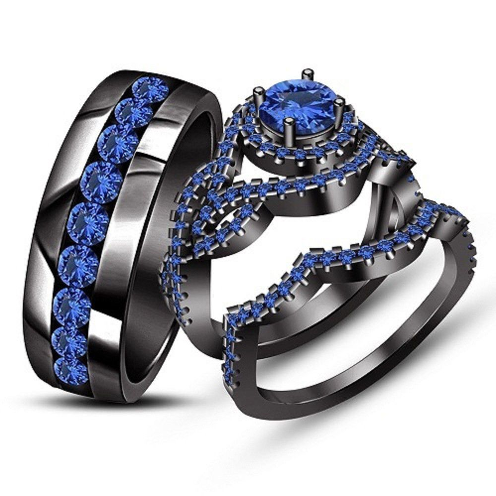 2.48Ct Blue Sapphire Trio Set His Her Ring Wedding Band