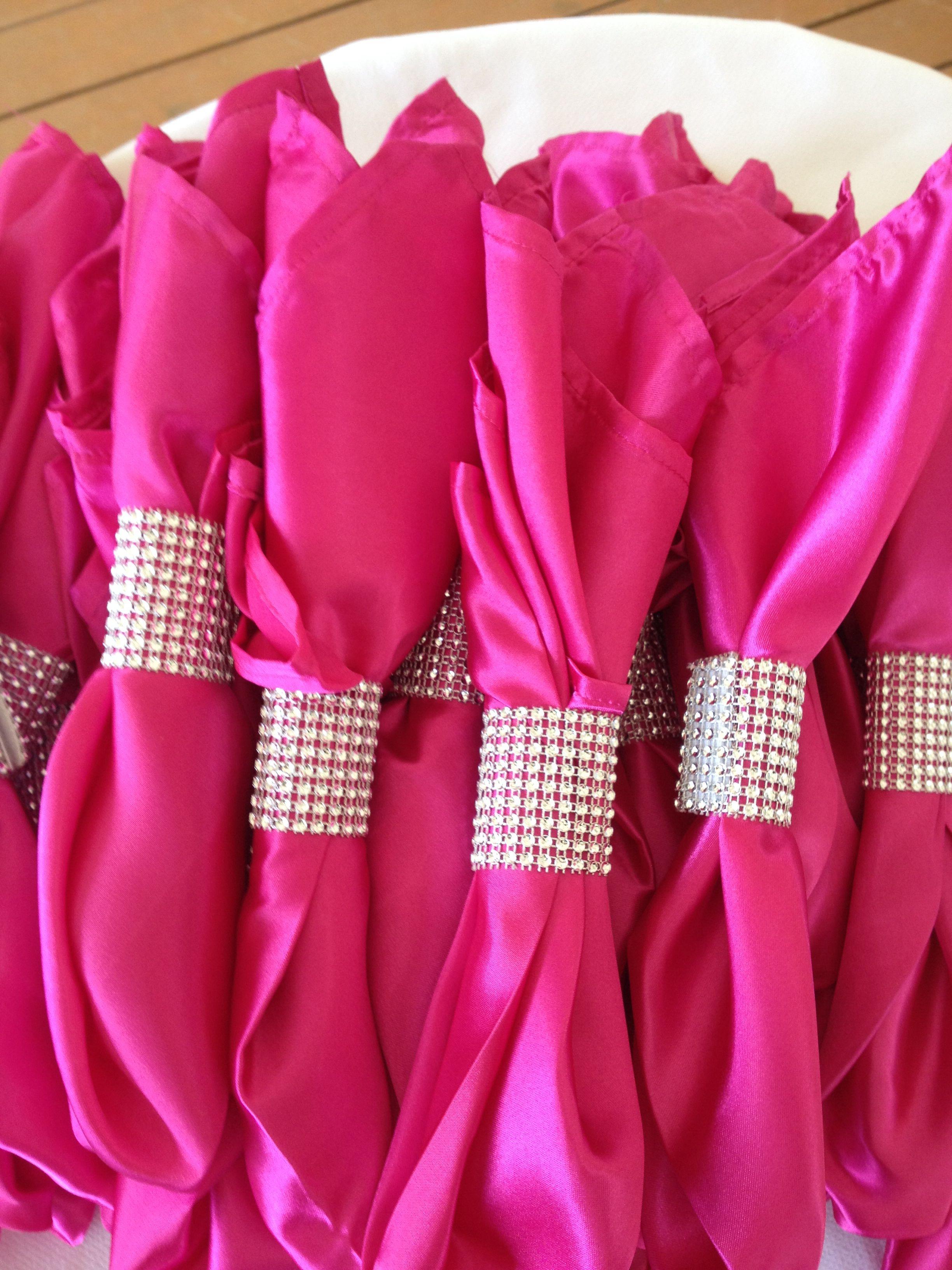 Diamond ribbon napkin rings with fuchsia satin napkins by Helen G ...