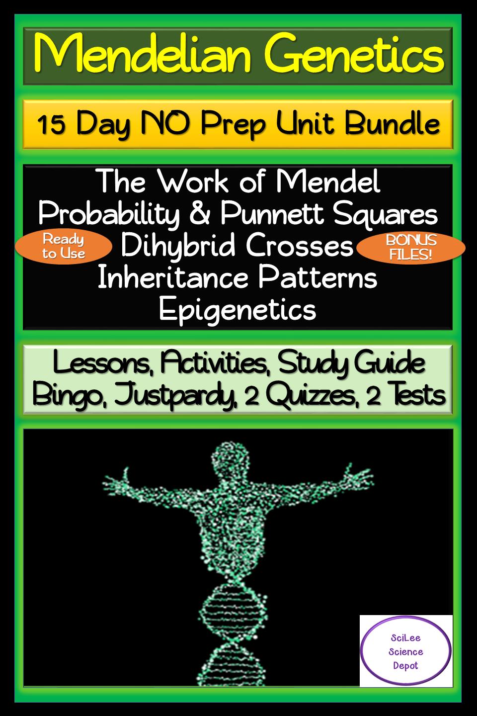 Mendelian Genetics 15 Day NO PREP Unit Bundle: Lessons
