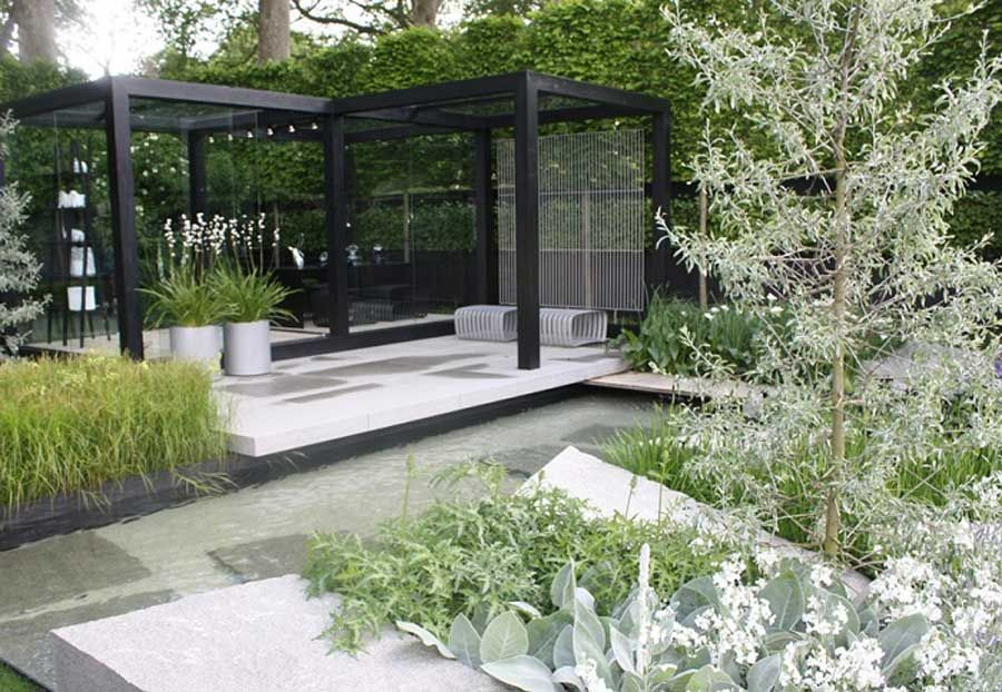 modern garden with unique design with black and white | black