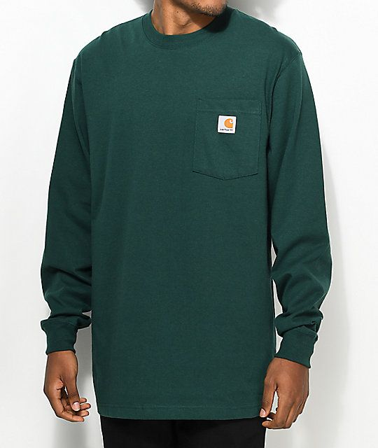 Carhartt Workwear Hunter Green Long Sleeve T-Shirt in 2019  fdeaf99a2a7f1