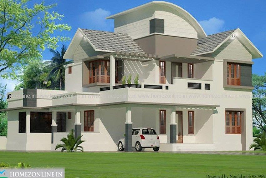Two floor house plan in mixed roof style | Roof styles ...